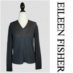 EILEEN FISHER Boxy V Neck Wool Pullover Sweater